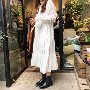 Bohemian White Flowy Women's Dress Free Size